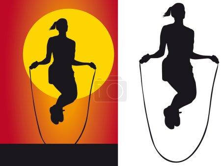 Photo pour Silhouette filles sauter corde sur fond blanc - image libre de droit