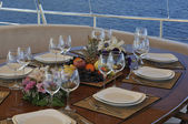 Dinner table on the yacht