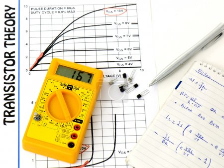 Photo for Yellow multimeter, study the transistor theory paper and taking notes over a white background - Royalty Free Image