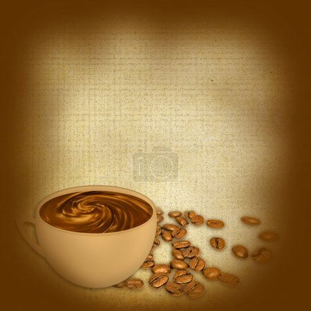 Cup of coffee on grunge a background