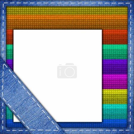 Photo pour Jeans cadre bleu sur un fond multicolore - image libre de droit
