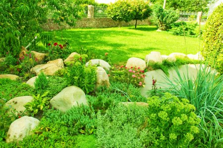 Photo for Landscape design in park, a sunny day - Royalty Free Image