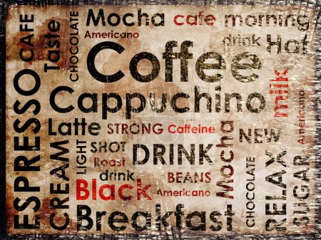 Photo for Sorts of coffe on wood background - Royalty Free Image