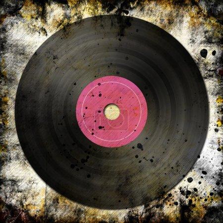 Photo pour Disque vinyle noir sur fond grunge avec chemin de coupure - image libre de droit
