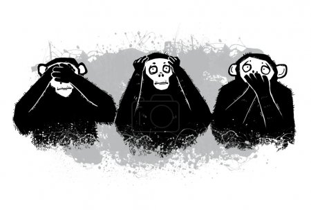 The author's illustration. Three monkeys.