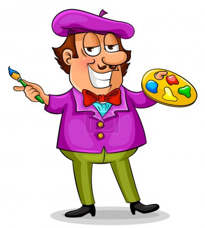 Illustration for Cartoon painter standing with his brush and color palette - Royalty Free Image