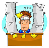 Worker overwhelmed by lots of paperwork and tasks