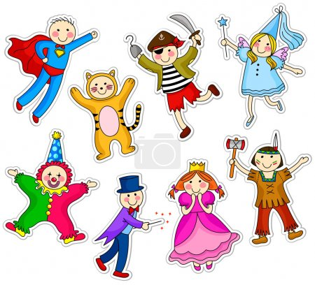 Illustration for Kids wearing different costumes - Royalty Free Image