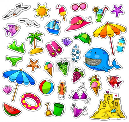 Illustration for Big collection of summer icons - Royalty Free Image