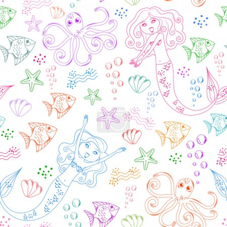 Seamless pattern with doodles of mermaids and other sea creatures