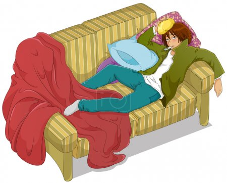 Illustration pour Garçon malade avec une forte fièvre couché sur le canapé - image libre de droit