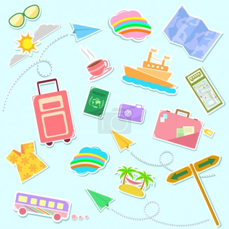 Illustration for Collection of cute travel symbols - Royalty Free Image