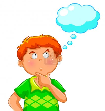 Illustration for Boy thinking with a blank thought bubble over his head - Royalty Free Image