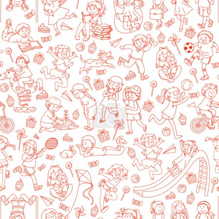 Illustration for Seamless pattern with doodles of children - Royalty Free Image
