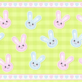 Seamless strip pattern with cute bunnies