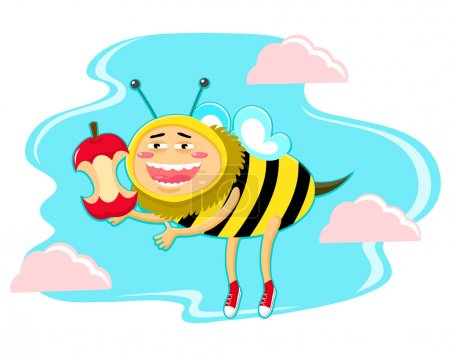Illustration for Honey bee holding apple core - Royalty Free Image