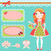 Cute girl and design elements