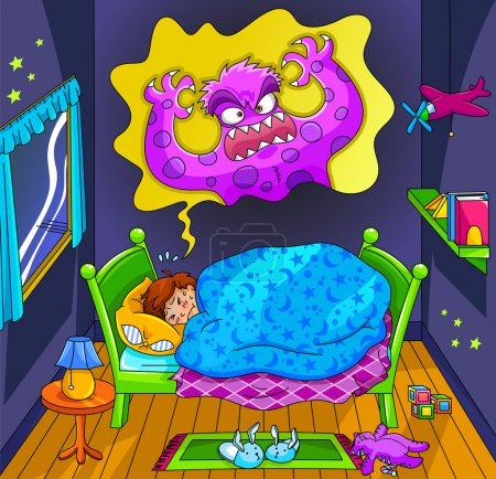 Illustration for Scared little boy dreaming about a monster - Royalty Free Image