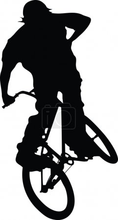 Boy on bike jumping silhouette.