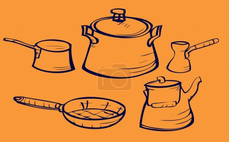 Dishes sketch set including pans coffee and tea kettle