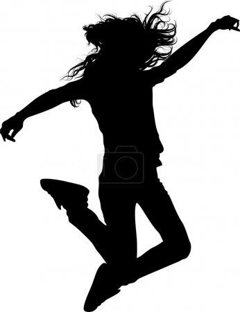 Jumping teen girl isolated silhouette
