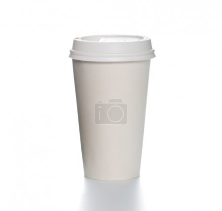 Paper coffee cup with plastic cap