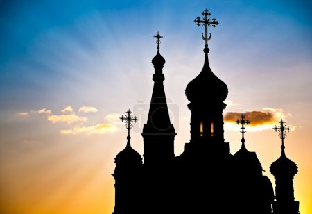 Silhouette of russian church