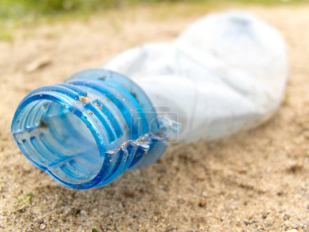 Crumpled plastic bottle