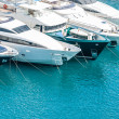 Beautiful white modern yachts at sea port in Nice,...