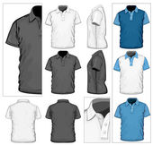 Vector Men's polo-shirt design template (front back and side view) No mesh