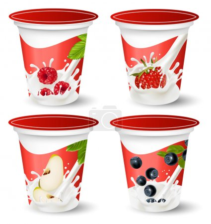 Background for design of packing yoghurt with photo-realistic vector of berries.