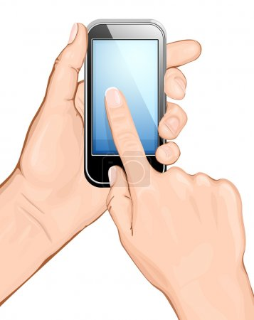 Illustration for Hand holding cellular phone and touching the screen. vector illustration. All main elements are on separate layers and can be edited as required - Royalty Free Image