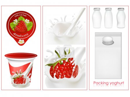 Illustration for Vector. Elements for design of packing milk dairy. Milky splash. Ripe strawberry. - Royalty Free Image