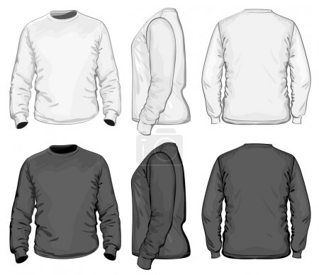 Illustration for Men's V-neck long sleeve t-shirt design template - Royalty Free Image