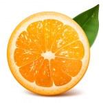 Vector fresh ripe orange with leaf....