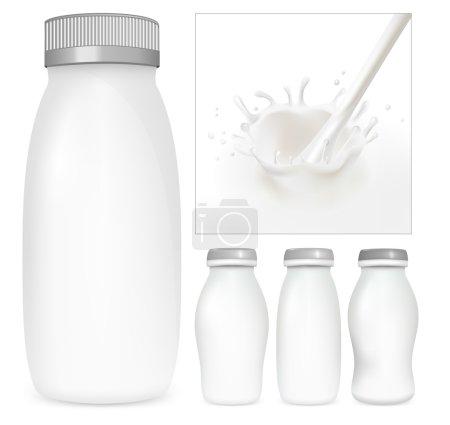 Vector set of blank milk and yoghurt packs. Milky splash