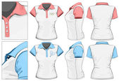 Women's polo-shirt design template (front back and side view)