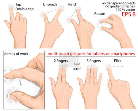 Illustration for Vector set of commonly used multitouch gestures for tablets or smartphone. no mesh. - Royalty Free Image