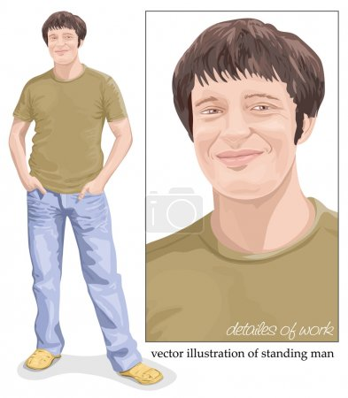 Vector illustration of young man standing with hands in pockets