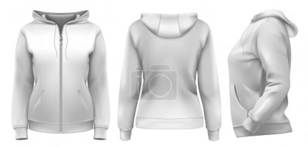 Women's hoodie (front, side and back design)
