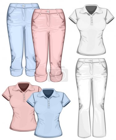 Women's trouser jeans and polo-shirt design templates.