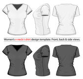 Vector Women's v-neck t-shirt design template (front back and side view)