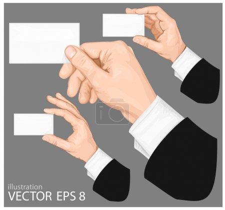 Illustration pour Mains tenant une carte de visite vierge avec espace de copie sur fond gris. illustration vectorielle - image libre de droit