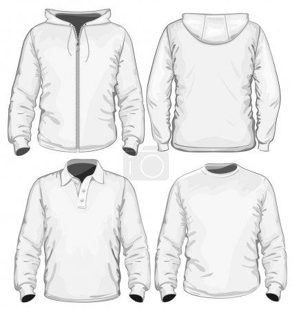 Men's polo-shirt, t-shirt and sweatshirt (long sleeve) design template.