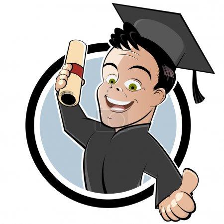 Happy cartoon degree holder