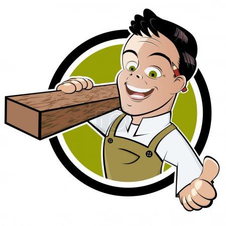 Illustration pour Drôle de dessin animé charpentier - image libre de droit