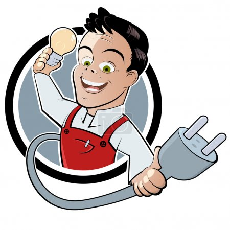 Illustration for Funny cartoon electrician - Royalty Free Image