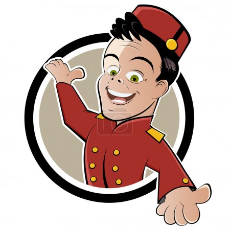 Illustration for Funny hotel service cartoon - Royalty Free Image