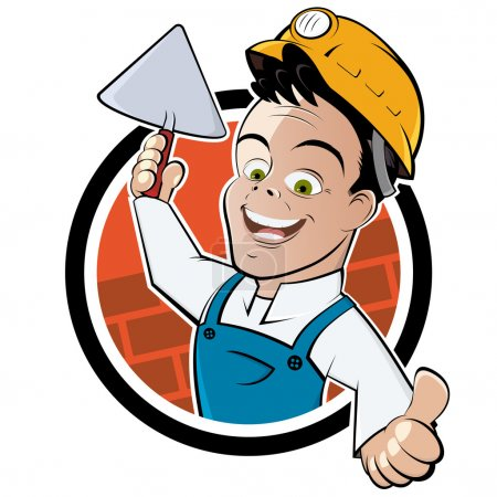 Illustration for Funny cartoon bricklayer - Royalty Free Image