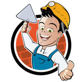 Funny cartoon bricklayer